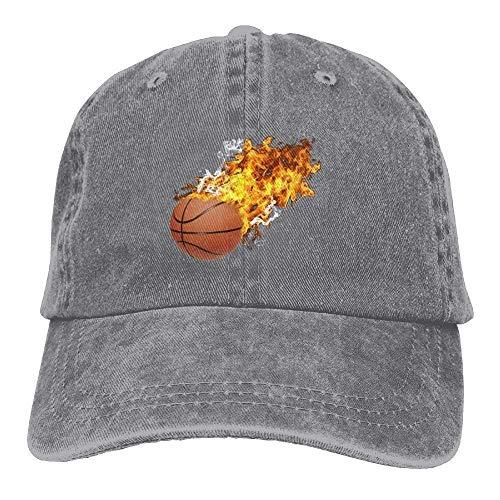 Hoswee Unisex Kappe/Baseballkappe, Funny Flame Basketball Denim Hat Adjustable Mens Plain Baseball Hats