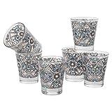 Baroni Home Confezione 6 Tazzine Caffe Fantasia Maioliche, Bicchierini Liquore 9cl, Set Bicchieri Shot, Vetro