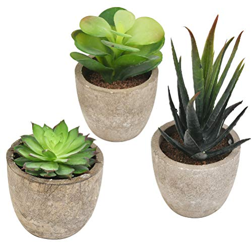 3pcs Plantas Artificiales Decorativas Suculentas,Plantas Artificiales Decorativas,Exterior de...