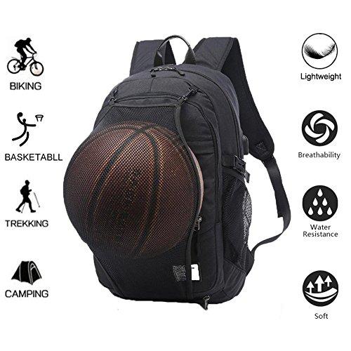 """Valleycomfy Basketballrucksack Herren Boy Leinwand Sport Rucksack Mit Faltbar Basketball Net Und USB Lade-Schnittstelle (passen 15.6\"""" Laptop), Schwarz"""