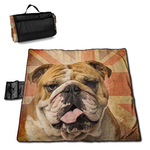 Manta de Playa Bulldog inglés Vintage Bandera del Reino Unido Manta de Picnic a Prueba de Arena Camping Gran Alfombra Impermeable Bolsa de Viaje