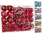 Brubaker 77-teiliges Set Weihnachtskugeln Christbaumschmuck - Kunststoff Rot/Silber