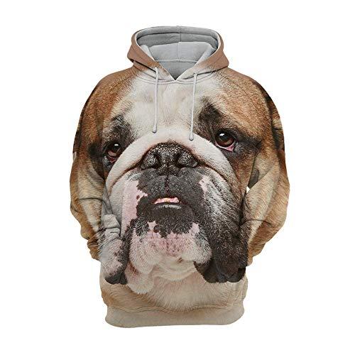 Iceiceice Unisex 3D Graphic Animals Dogs Jungen Kapuzenpullover Bunt Teens Hoodie Kinder Langarm Pulli mit Kapuzen Sweatshirt Pullover Englische Bulldogge...