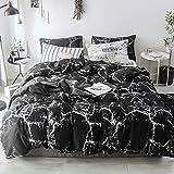 Luxlovery Juego de edredón de mármol negro para cama King negro para mujer y hombre, diseño gótico abstracto, transpirable, suave manta con 2 fundas de almohada