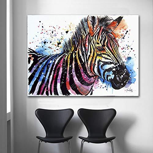 MLSWW Wandgemälde Tierwand Leinwand Kunst Aquarell Zebradruck Poster Wohnzimmer Bild Dekoration Kunst Leinwand Ölgemälde Hauptdekoration