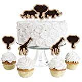 Wild Safari - Dessert Cupcake Toppers - African Jungle Adventure Birthday Party or Baby Shower Clear Treat Picks - Set of 24