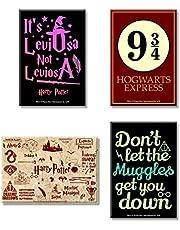 MCSID RAZZ Harry Potter Combo Pack of 4 Rectangular Fridge Magnet ( Leviosa + Red + Muggles + Hogwarts 9 3 /4 )Gift Set Birthday Gift / Anniversary gift Officially Licensed by Warner Bros, USA Best Gift for Friendship Day, Rakhi, Diwali & Christmas Day