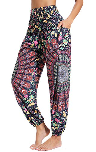 Pantalones de Yoga Mujer Harem Boho del Lazo del Pavo Real Flaral Funky #2 Flor Impresa-D