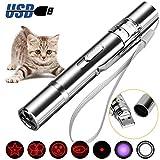 Sporgo LED Pointer, LED Pointer Katzen Hund USB Wiederaufladbar Haustier Interaktives Spielzeug,Katzenspielzeug für Katzen Spielzeug mit 4 in 1 Multi-Muster (Silver)