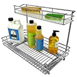 Lynk Professional Under Sink Cabinet Organizer Pull Out Two Tier Sliding Shelf, 11.5w x 21d x 14h-Inch, Chrome