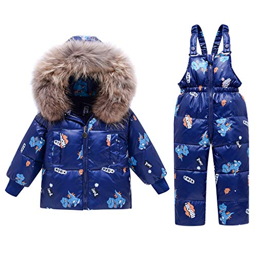 2 Stück Jungen Winter Schneeanzug, Mädchen mit Kapuze Entenjacke + Schnee Lätzchenhose Dinosaurier Kinder Kleidung Sets Blau 4-5 Jahre