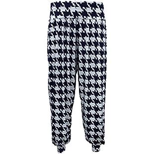 Silva & Sons Women's Ladies Printed Alibaba Full Length Hareem Baggy Trousers (Dog Tooth, UK S/M)