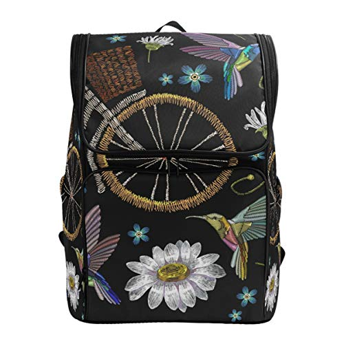 Ahomy Schulrucksack, Kolibri, Fahrrad, Blume, wasserdicht, Tagesrucksack, Computer-Rucksack für Arbeit und College