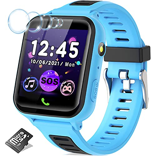 Kids Smart Watch for Boys Girls, Kids Smartwatch with Call 14 Games SOS Music Player Alarm Clock 12/24 hr, HD Touch Screen Children Learning Toys Birthday Gifts for Kids Boys Age 3-12(Blue)