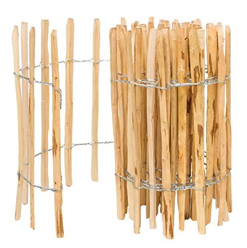 BOGATECO Staketenzaun Haselnuss Kastanie | Holz-Zaun 50 cm Hoch & 500 cm Lang | Lattennabstand 7-8 cm | Perfekt als Gartenzaun