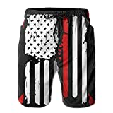 Ytavv Mens Beach Shorts Relaxed Firefighter Red Line American Flag 100% Polyester Swimwear/XL