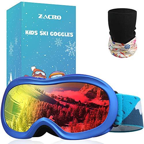Zacro Gafas Esquí Snowboard para Niño Joven, con Máscara Esquí y Bolsa Portable,OTG 100{c8411f9d20aa73ec2df80333794de928526436d7997fee734740c9a2e3316a06} UV400 Protección Gafas de Esquí,Antideslizante,Anti-Niebla y Anti-Nieve