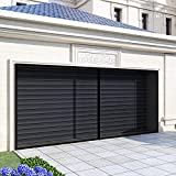 MORITIA Magnetic Garage Door Screen Reinforced Fiberglass Stronger High Energy Magnets Hands-Free Closure Heavy Duty Weighted Bottom Easy Installation Retractable for 2 Cars Garage Black 16x7Ft