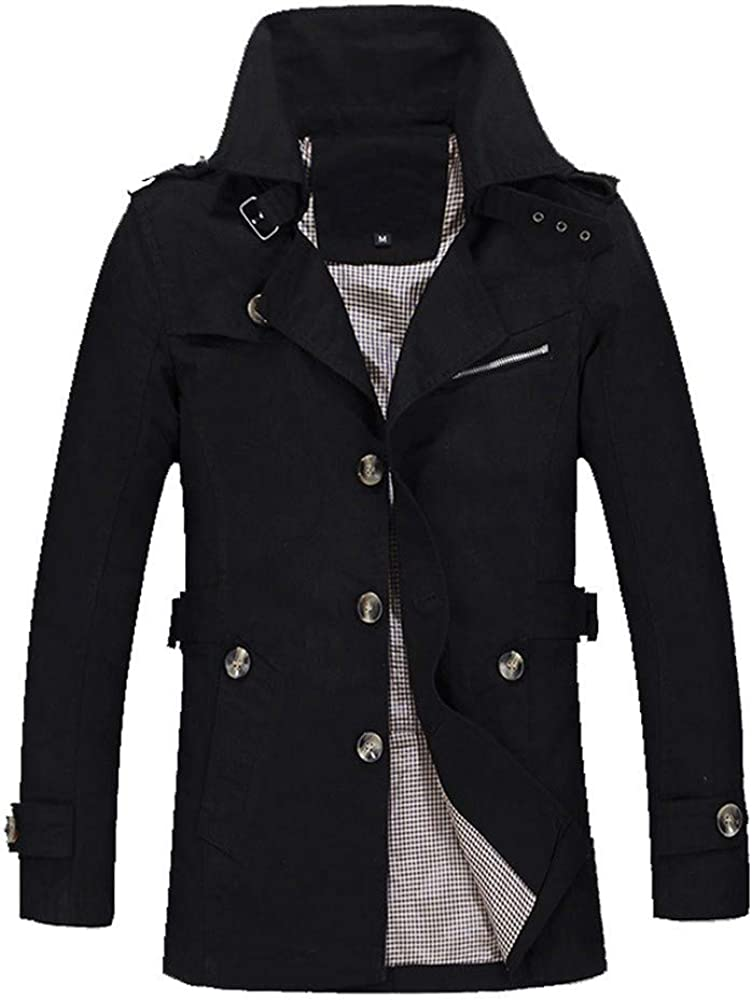 Mens Trench Coat Winter Wool Blend Jacket Overcoat Lightweight Long Top Coat Warm Pea Coat for Business Party