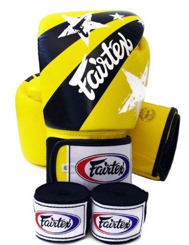 Fairtex guantes de Muay Thai BGV1 Edición limitada nación - impresión amarillo tamaño: 10 12 14 16 oz. Entrenamiento y Sparring guantes de Kick Boxing MMA K1, color - Yellow Nation Print, tamaño 454 g