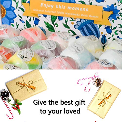 Bath Bombs Gift Set, 20 Wonderful Fizz Effect Handmade Bath Bombs for Valentine's Day, Christmas, Mother's Day, Father's Day, Children's Day, Birthday, Thanksgiving Day