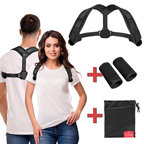 Haltungskorrektur Rückenstabilisator für aufrechte Haltung Herren Damen - One-Size Haltungstrainer Rücken-Trainer Gurt Geradehalter Schultergurt | Atmungsaktiv gepolstert unsichtbar unter Kleidung