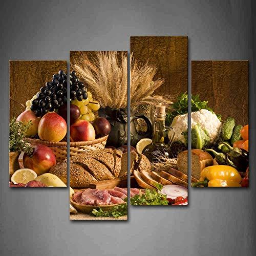 First Wall Art - Comida de la Cocina Cuadros en Lienzo Fruta en la Canasta y Pan Carne Verduras en la Mesa Decoracion de Pared 4 Piezas Modernos Mural Fotos para Salon,Dormitorio,Baño,Comedor