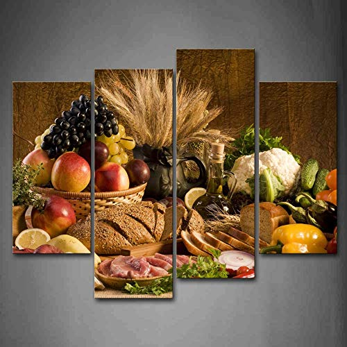 First Wall Art - Cucina Alimenti Quadri Frutta nel Cestino e Pane Carne Verdure sul Tavolo Stampa su Tela 4 Pannelli Moderni Decorazione da Parete per Soggiorno,Camera da Letto