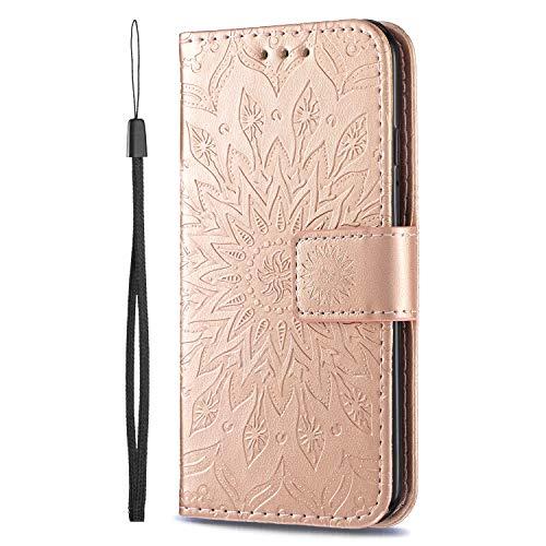 KKEIKO Hülle für Sony Xperia XZ1 Compact, PU Leder Brieftasche Schutzhülle Klapphülle, Sun Blumen Design Stoßfest HandyHülle für Sony Xperia XZ1 Compact - Roségold