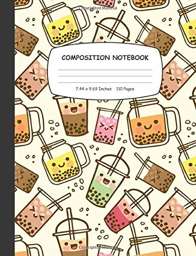 Composition Notebook: Bubble Milk Tea Wide Ruled Notebook for Girls, Kids and Students | Gift for Milk Tea Lovers and Owner, Blank Lined Journal for School to Write & Note