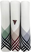 Van Heusen Men's Cotton Colour Border Handkerchief with Brand Logo (Pack of 3)