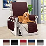 Honest Reversible Recliner Slipcover, Water Resistant Recliner Chair Cover with Side Pockets,Washable Recliner Protector Cover with Elastic Straps for Pets Kids Children Dog(30In,Chocolate&Beige)