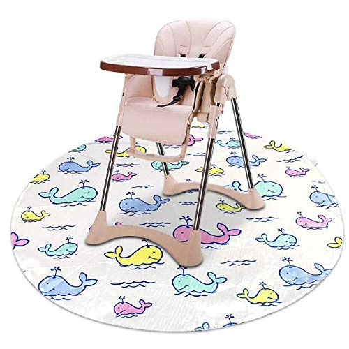 Splat High Chair Mats for Dropping Food,Baby Washable Waterproof & Anti-Slip Floor Splash Mat for Under High Chair (Whale 43'x43')