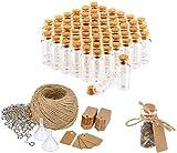 com-four 60x Glasfläschchen ideales Gastgeschenk zur Hochzeit oder Geburtstag, Zubehör für Hochzeit, Tee, Gewürzen, Samen, Kräutern ca. 10 ml (060 Stück + Zubehör)
