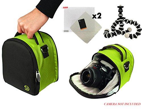 ナイロン SLR バッグ - ライム 富士フィルム Finepix S1, S8600, S9200, S9400W, X-T1 DSLR カメラ + スクリーンプロテクター + ミニ三脚