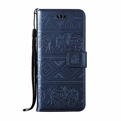 ESSTORE-EU Funda Samsung Galaxy S8, Ranuras para Tarjetas y Billetera Hebilla Magnética Cerrada, Azul