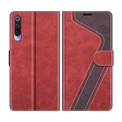 MOBESV Funda para Xiaomi Mi 9, Funda Libro Xiaomi Mi 9, Funda Móvil Xiaomi Mi 9 Magnético Carcasa para Xiaomi Mi 9 Funda con Tapa, Rojo