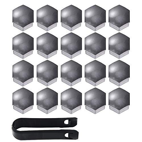 Gebildet 20 stücke Universal 17mm Kunststoff Nut Abdeckkappe Schraube Auto Mutter Covers Bolt Radkappen mit 1 stück Abziehhaken (Grau)