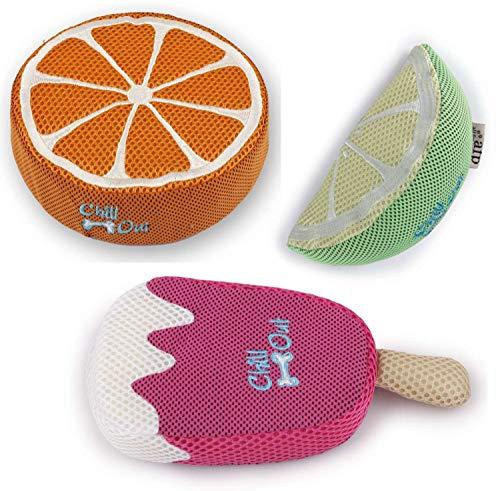PETGARD Juego de 3 Juguetes para Perros con Esponja Naranja + limón + Fresa Helado Juguetes de Agua