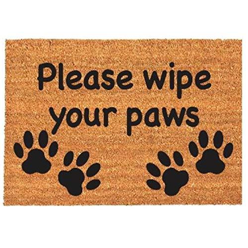 Nitaar - Felpudo antideslizante de fibra de coco natural, 40 x 60 cm, diseño de patas de perro y gato