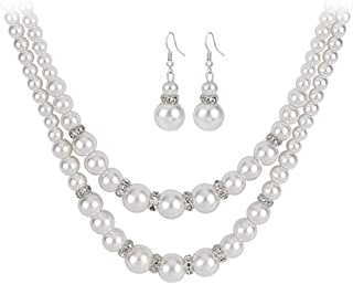 2 Pcs Pearl Jewelry Sets for Women Girls Layering Pearl Necklace Earrings Set for Women Anniversary Christmas Gifts for Mo...