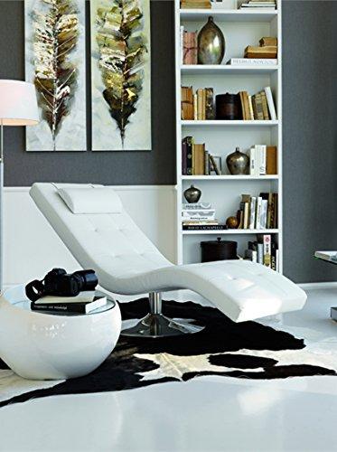Stones Sleeper Chaise Longue Relax, finta pelle, Bianco, 60x180xH 90 cm