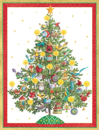 Entertaining with Caspari Birds of a Feather Tree Christmas Cards with Unlined Envelopes, Box of 16