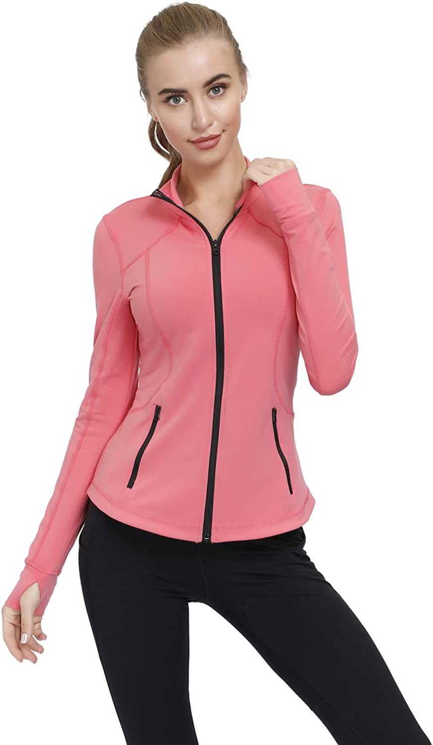 Dolcevida Womens Slim Fit Workout Track Jackets Full Zip Stretchy Warm up Active Running Jacket with Thumb Holes