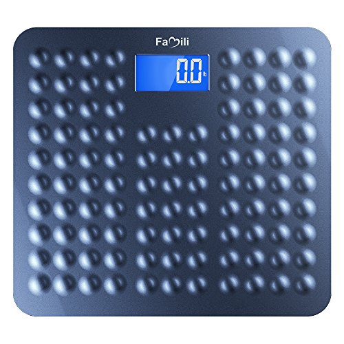 Famili 271B Bathroom Scale Digital Body Weight Scale with Non Slip Design 11lb to 400lb / 5 to 180kg Blue
