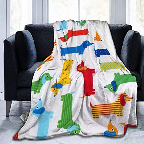 Manta de terciopelo de felpa Dachshund gruesa alfombra de forro polar para sala de estar para hombres suave colchoneta de dormir para todas las estaciones