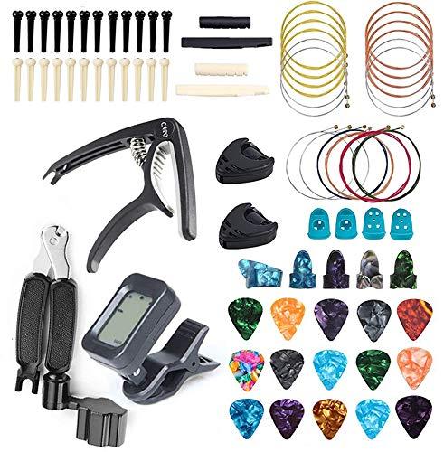 75 accesorios para guitarra, afinador para guitarra, cejilla, puente de guitarra, manivela 3 en 1, púas de guitarra, puente de hueso, cuerdas de guitarra para guitarristas y principiantes