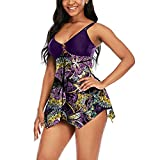 Beshion Women Swimsuits Two Piece Swimsuits Tankini Swimdress Printed Bathing Suit Dress Tummy Control with Bottom S(Purple,XL)
