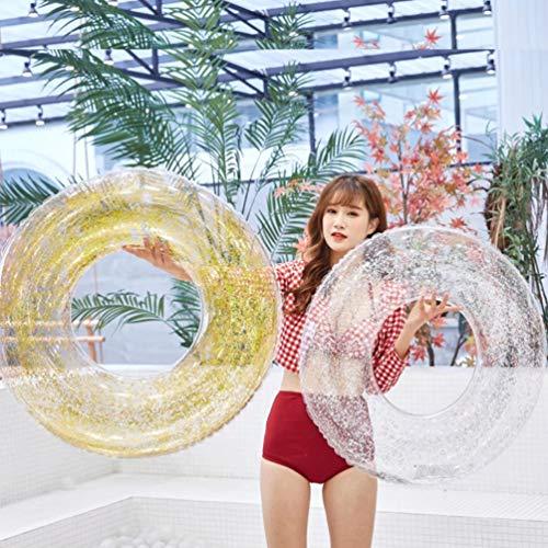 XGYUII Glitter-Schwimmen-Ring-aufblasbares Pool umweltfreundliches PVC-erwachsenes Wasser-rundes Pailletten-Schwimmen-Ring-Wasser-Spaß-Swimmingpool-Spielzeug,Silver,100cm
