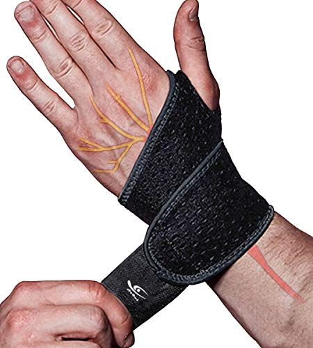 HiRui 2 Pack Wrist Compression Strap and Wrist Brace Sport Wrist Support for Fitness, Weightlifting, Tendonitis, Carpal Tunnel Arthritis, Pain Relief-Wear Anywhere-Unisex, Adjustable (Black)